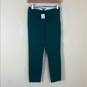 NWT J. Crew Factory skinny green cropped trouser 0